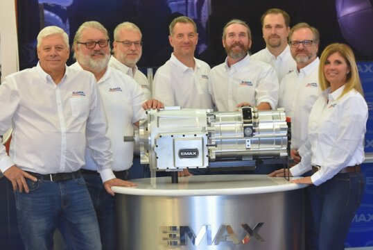 The Sigma Powertrain team showing off E-Max electric transmission